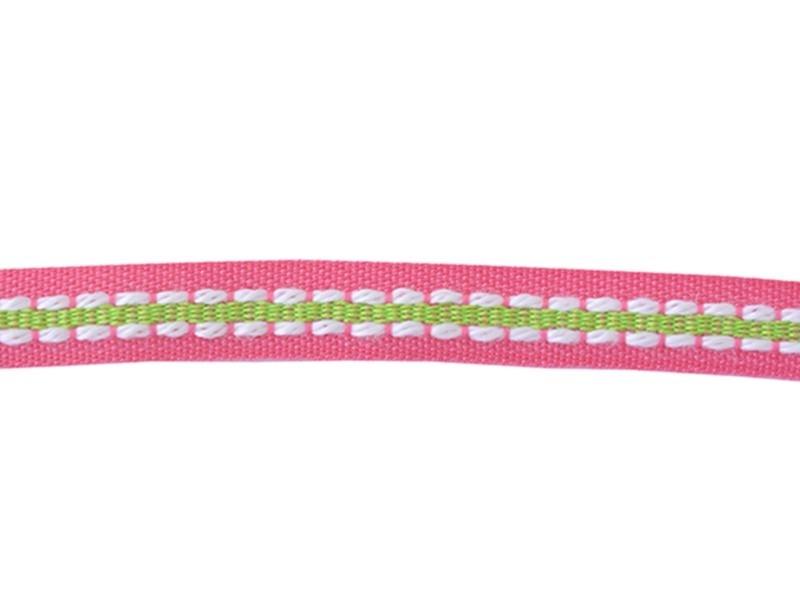 1m ruban tissé pointillé et 8 mm - rose / vert 073