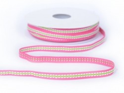 1 m of dashed woven ribbon (8 mm) - pink/green (colour no. 073)