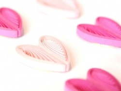 Quilling stickers - Pink and fuchsia-coloured hearts