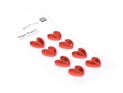 Quilling stickers - Red hearts