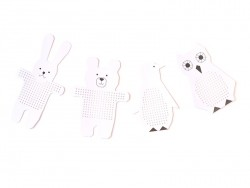 8 embroidery cardboards - rabbit, bear, owl and penguin