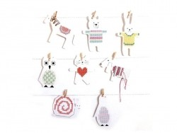 8 embroidery boards - Cat, dog, horse and snail