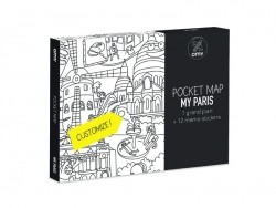 Carte de poche à colorier  + 12 memo stickers - Paris