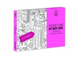Pocket map than can be coloured + 12 memo stickers - New York