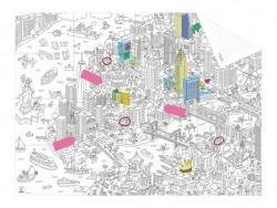 Karte zum Ausmalen (im Taschenformat) + 12 Memo-Aufkleber - New York