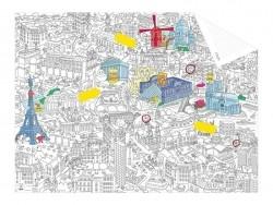 Carte de poche à colorier  + 12 memo stickers - Paris