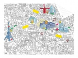 Pocket map than can be coloured + 12 memo stickers - Paris