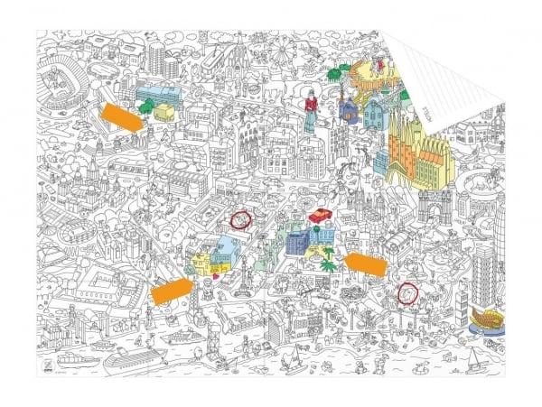 Carte de poche à colorier  + 12 memo stickers - Barcelone