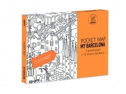 Pocket map than can be coloured + 12 memo stickers - Barcelona