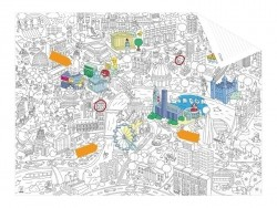 Carte de poche à colorier  + 12 memo stickers - Londres