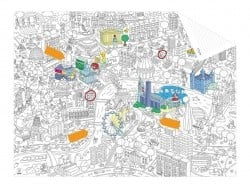 Carte de poche à colorier  + 12 memo stickers - Londres OMY  - 1