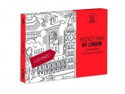 Pocket map than can be coloured + 12 memo stickers - London