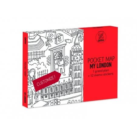 Carte de poche à colorier  + 12 memo stickers - Londres