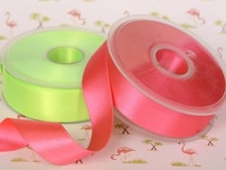 1 m ruban satin uni rose fluo 204 - 26 mm