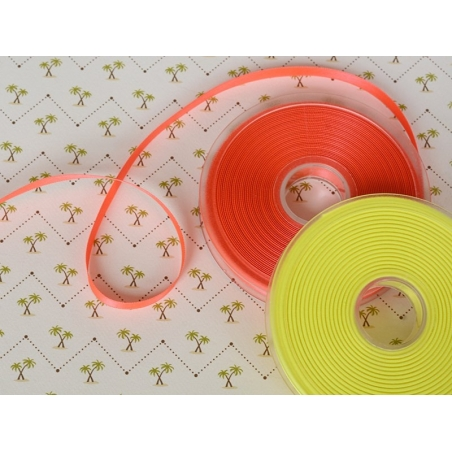 1 m ruban satin uni orange fluo 203 - 8 mm