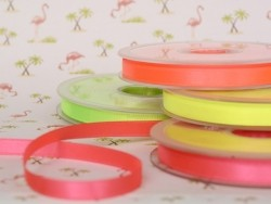 1 m ruban satin uni jaune fluo 201 - 8 mm