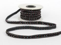 1m de galon lurex et perles 10mm - Noir 014