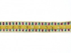 Lurex and bead trim (10 mm) - Yellow (colour no. 081)