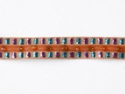 1m de galon lurex et perles 10mm - Orange 083  - 1