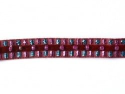 1m de galon lurex et perles 10mm - Rouge 071