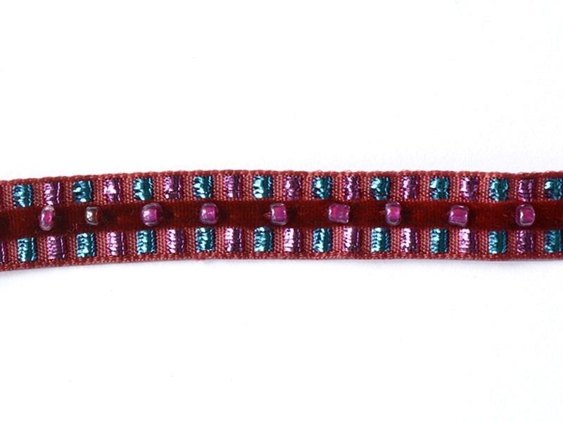 1m de galon lurex et perles 10mm - Rouge 071