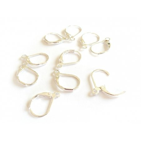 1 pair of light silver-coloured lever back earrings