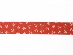 1m biais 20mm imprimé ancres - rouge 008  - 1