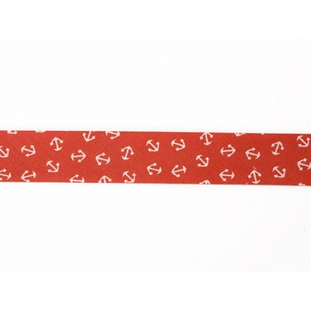 1m of bias binding (20 mm) with an anchor print - red (colour no. 008)