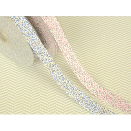 1m of bias binding (20 mm) with a floral pattern - blue (colour no. 021)