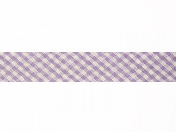 1 m of woven bias binding (20 mm) with a Gingham pattern - violet (colour no. 088)