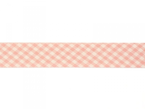 1 m of woven bias binding (20 mm) with a Gingham pattern - pink (colour no. 074)
