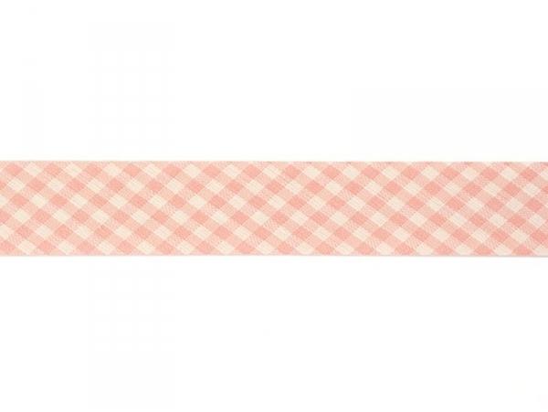 1m biais 20mm tissé vichy - rose 074