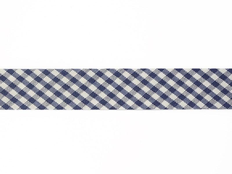 1m biais 20mm tissé vichy - bleu foncé 027