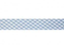 1m biais 20mm tissé vichy - bleu clair 002  - 1