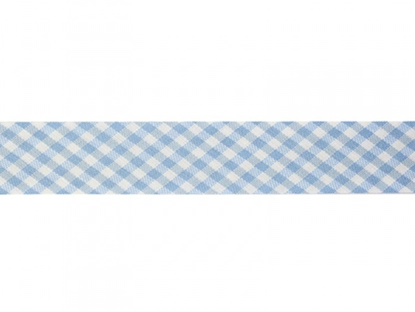 1 m of woven bias binding (20 mm) with a Gingham pattern - light blue (colour no. 002)