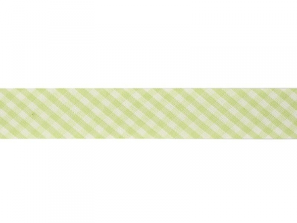 1 m of woven bias binding (20 mm) with a Gingham pattern - green (colour no. 016)