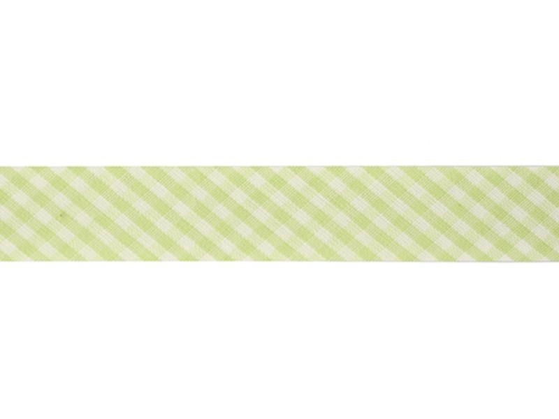 1m biais 20mm tissé vichy - vert 016