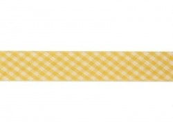 1 m of woven bias binding (20 mm) with a Gingham pattern - yellow (colour no. 081)