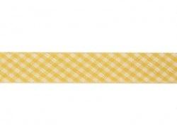 1m biais 20mm tissé vichy - jaune 081  - 1