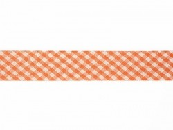 1m biais 20mm tissé vichy - orange 083