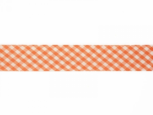 1 m of woven bias binding (20 mm) with a Gingham pattern - orange (colour no. 083)