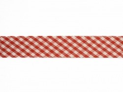 1 m of woven bias binding (20 mm) with a Gingham pattern - red (colour no. 008)