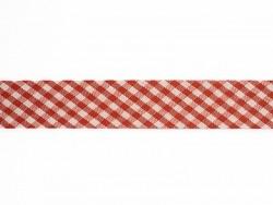1m biais 20mm tissé vichy - rouge 008  - 1