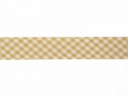 1 m of woven bias binding (20 mm) with a Gingham pattern - light brown (colour no. 040)