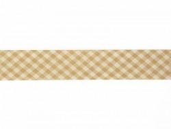 1m biais 20mm tissé vichy - marron clair 040  - 1