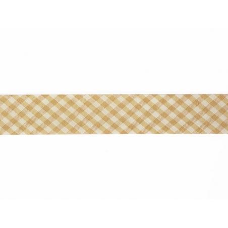 1m biais 20mm tissé vichy - marron clair 040
