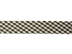 1m biais 20mm tissé vichy - noir 014