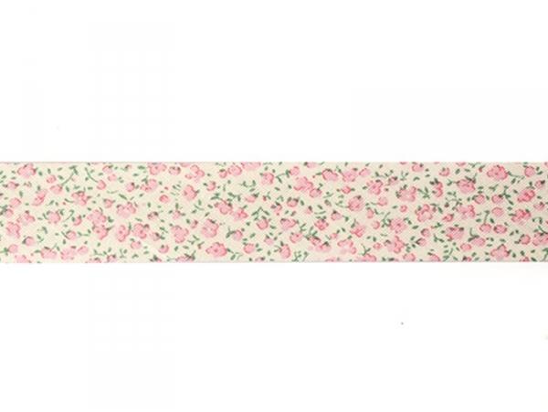 1m biais 20mm imprimé fleurs - rose 074