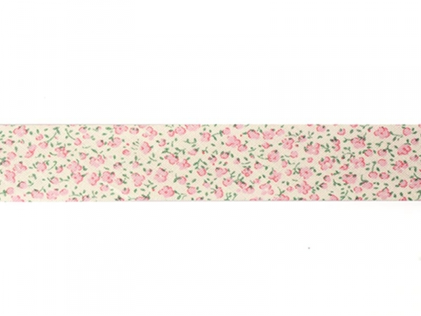 1m of bias binding (20 mm) with a floral pattern - pink (colour no. 074)