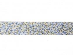 1m biais 20mm imprimé fleurs - bleu 021  - 1